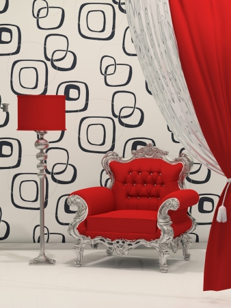 Luxury armchair with standard lamp isolated on abstract wallpaper Stock Photo