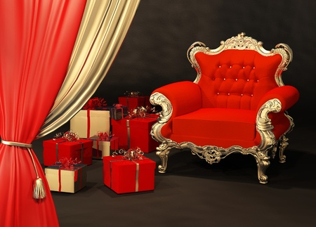 Royal armchair with gift wrapping in luxury interior Stock Photo - 10350818