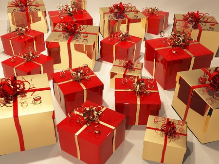 Gift boxes with  ribbon and wrapping Stock Photo - 10350723