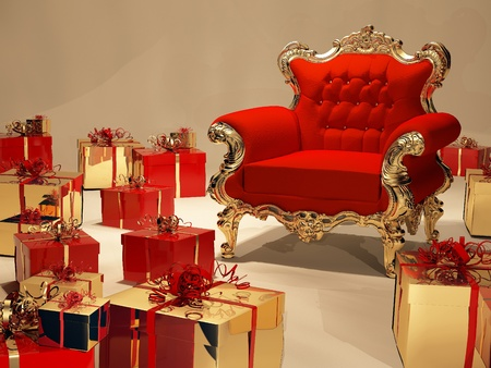 luxuriously: Luxurios armchair with gift box decoration Stock Photo