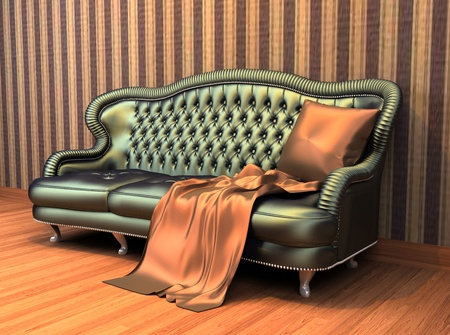 coverlet: Sofa with pillow and coverlet in interior with  stripped wallpaper and wooden parquet
