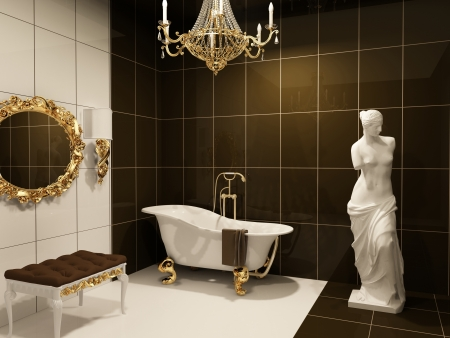 Luxurious furniture with statue  of Venus in baroque bathroom