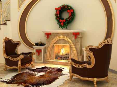 Armchairs by fireplace with Christmas-tree decorations in comfortable interior