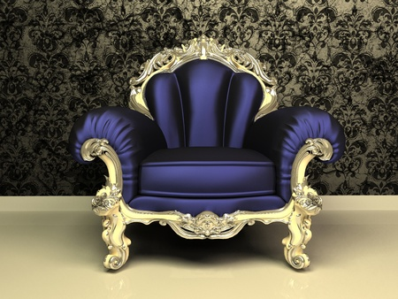 upholstery: Modern Baroque armchair with decorative frame in luxury interior Stock Photo