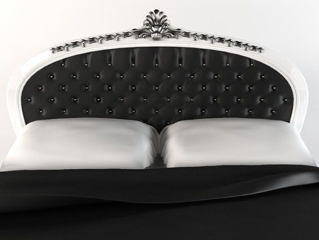 bed frame: Luxurious  headboard with decorative frame. Bed.