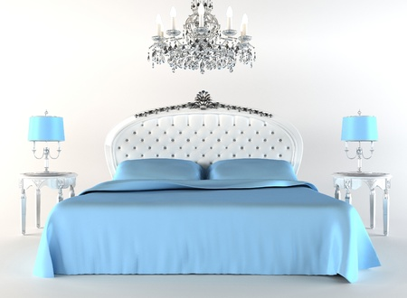 baroque room: Modern bed with night lamps and chandelier. Flat