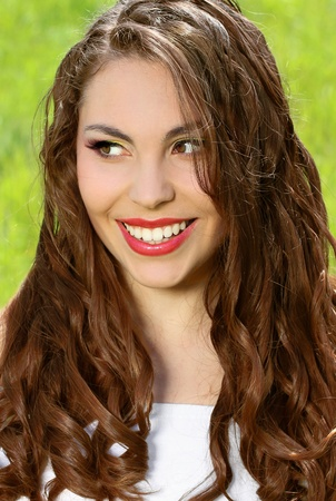 Portrait of Young sexy women with beautiful smile. Red lips. Wellness. Summertime. Happiness Stock Photo - 10365964