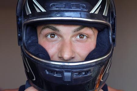 motorcycle helmet: man in crash helmet motor Stock Photo
