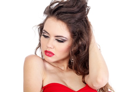 Sensual sexy beautiful lady woman in red with red lips on white background Stock Photo - 10385515