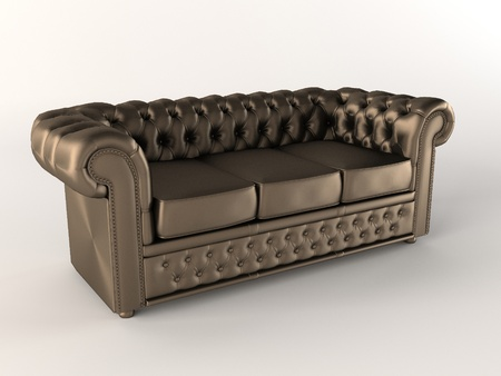 chester: Chester Leather brown sofa. Chesterfield