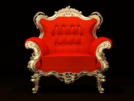 leather armchair: Royal armchair with gold frame isolated on black background