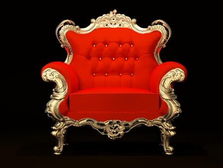 muebles antiguos: Sillón real con marco de oro aislada sobre fondo negro