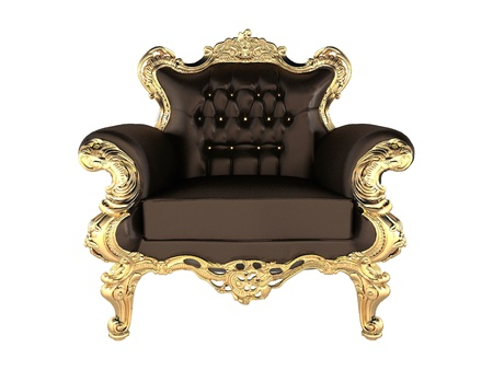 baroque room: Leather Armchair with luxury gold frame