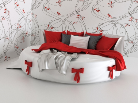 gift bed in modern interior with wallpapers photo