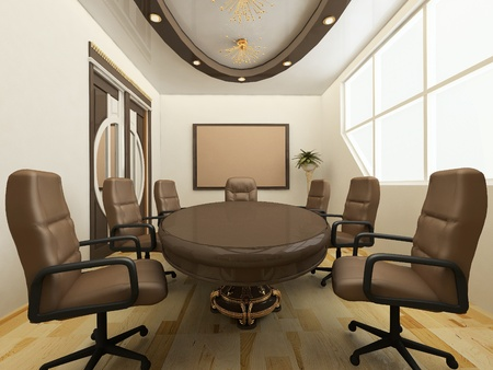 meeting place: Desk with chairs in office interior. Workplace
