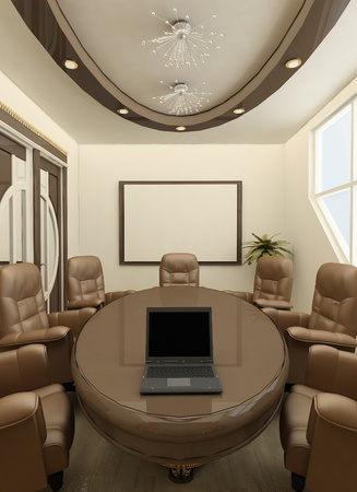 spaciousness: Perspective round table with computer in office interior. Workplaces