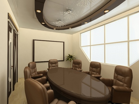zoning: Conference table. Business meeting room in office with big window. interior