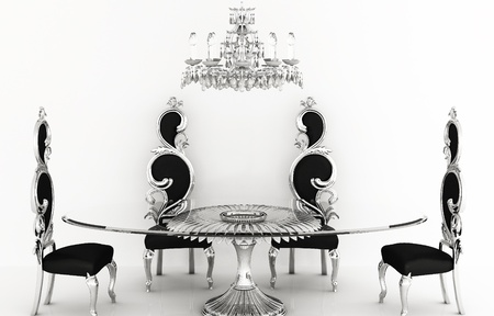 chandeliers: Baroque furniture. Royal chairs with round table