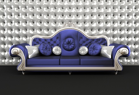 blue leather sofa: Luxurious sofa with cushion on buttoned background in interior Stock Photo