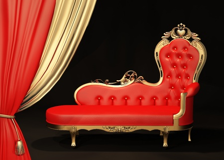 baroque furniture: Royal sofa with gold frame. Curtain. Stock Photo