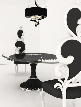 Perspective of baroque chairs and table in luxurious interior photo