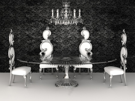 chandeliers: Baroque furniture. Chairs with round table in dinner interior. restaurant. 3d render