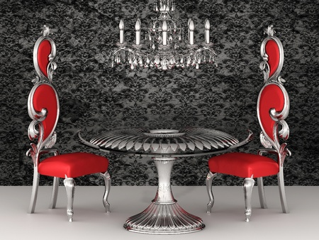 Baroque chairs. Royal interior. Wallpaper. Stock Photo - 10468598