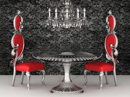 Baroque chairs. Royal interior. Wallpaper. photo