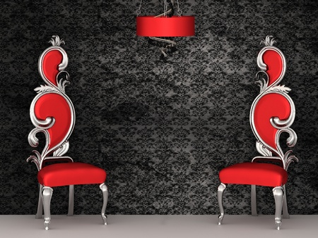 chandelier: Two red chairs with royal back isolated on ornament wallpapers