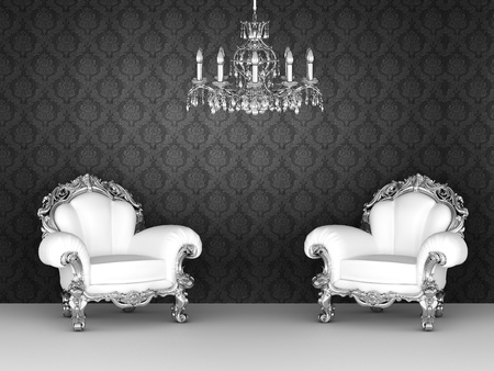 baroque furniture: Luxurious armchairs in baroque interior. Ornament wallpapers.