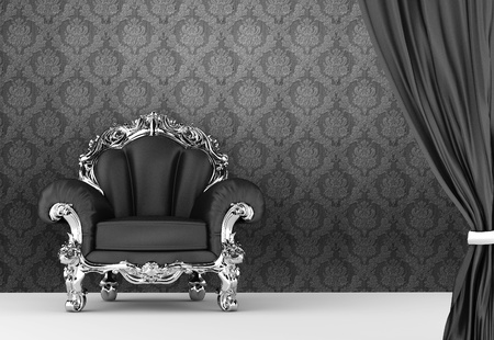 baroque room: Opened curtain with  baroque armchair on wallpaper background. Interior