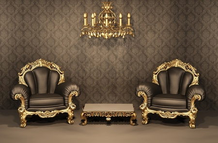 Baroque Armchairs with gold frame in old interior. Luxurious furniture. Deluxe apartment Stock Photo - 10468595