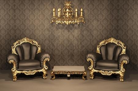 Sillones barroco con marco de oro viejo interior. Lujosos muebles. Apartamento Deluxe