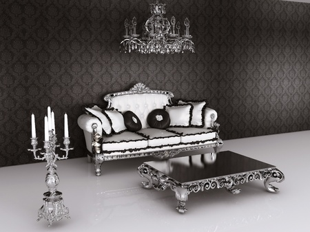 Royal furniture in Baroque interior. Sofa with pillows and table with  candelabrum photo