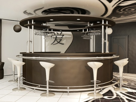 bar interior: Round bar with standing chairs in modern interior .Yin Jansky