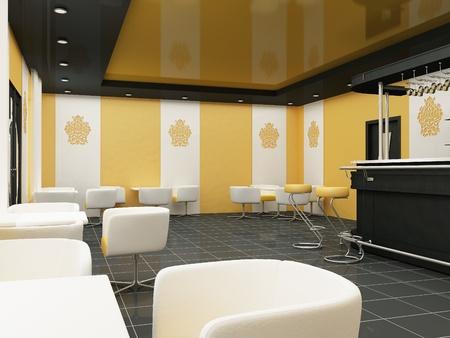 suspend: Interior of Restaurant. Modern Bar. Comfortable Cafe.