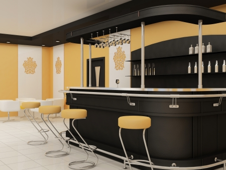 perspective of  bar with chairs in restaurant interior Stock Photo - 10468575