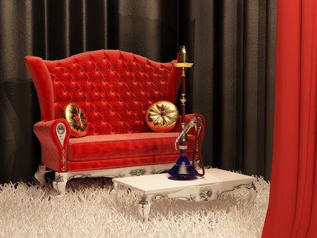Sofa with pillow and hookah in east style interior photo