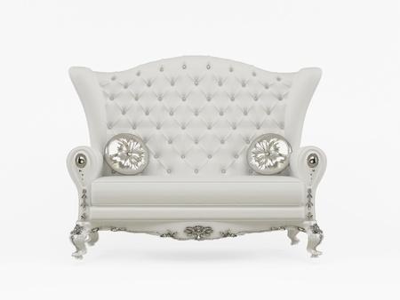 Moderne Sofa mit dekorativen Kissen isoliert auf weißem Hintergrund