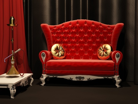 Red sofa and  hookah in interior. Drapery.