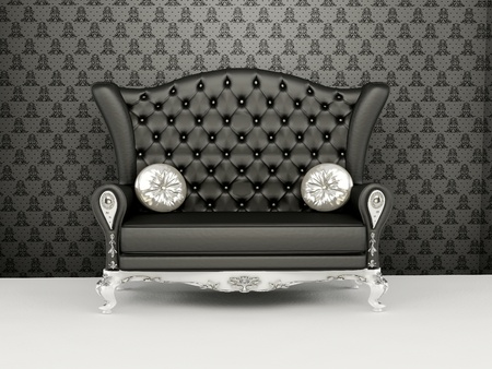 Sofa with higher back before the wallpaper. Interior. Exhibition. Stock Photo - 10511896