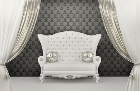 curtain design: Divano di lusso con cuscini prima di ornamento della parete. Bracciolo