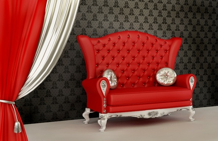 baroque room: Opened curtain and modern sofa with pillow in interior with ornament wallpaper Stock Photo