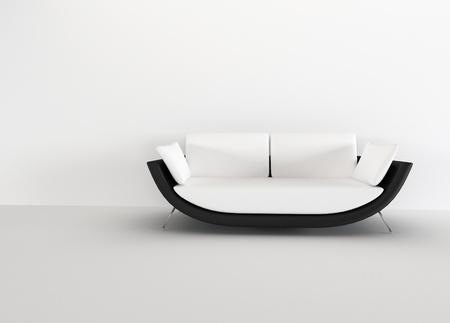 living room minimalist: Modern sofa in in a bright empty living room - rendering. minimalism interior. Stock Photo