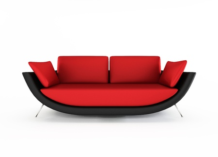 Red Modern sofa isolated on white background photo