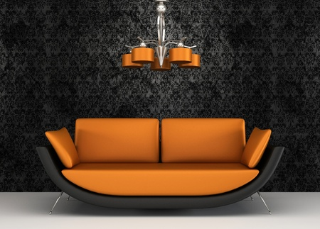 chandelier: Fabric sofa in modern interior with pattern wallpaper Stock Photo