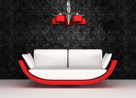 divano: Divano moderno con lampadario in interni lussuosi