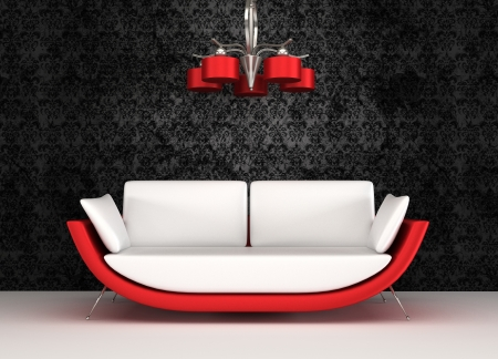 couch: Modern sofa with chandelier in luxurious interior Stock Photo