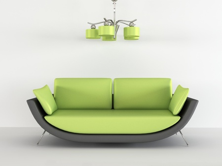 luster: Loft sofa with chandelier in minimalism interior