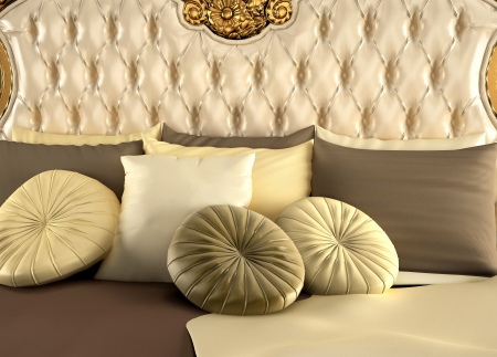 upholstery: Deluxe back of bed and pillows. Royal and luxurious bedroom